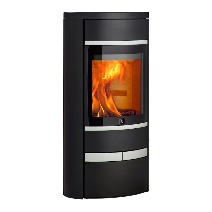 Scan 68 Low Base Wood Stove Black Solid Sides Silver Trim - Black
