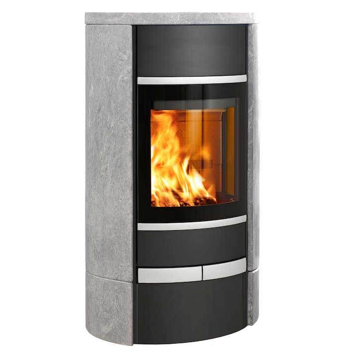Scan 68 Low Base Wood Stove Black/Soapstone Solid Sides Silver Trim - Black / Soapstone