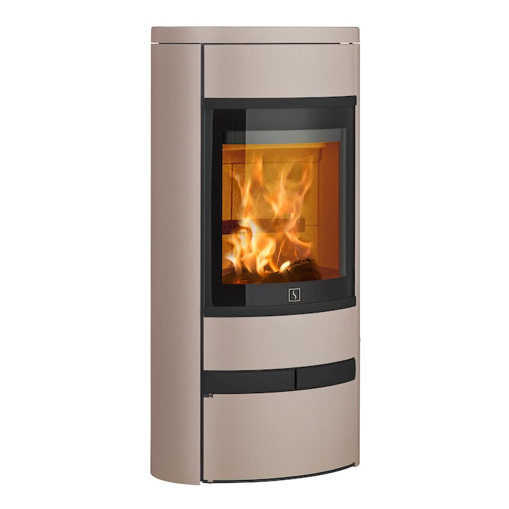 Scan 68 Low Base Wood Stove Champagne Solid Sides Black Trim - Champagne