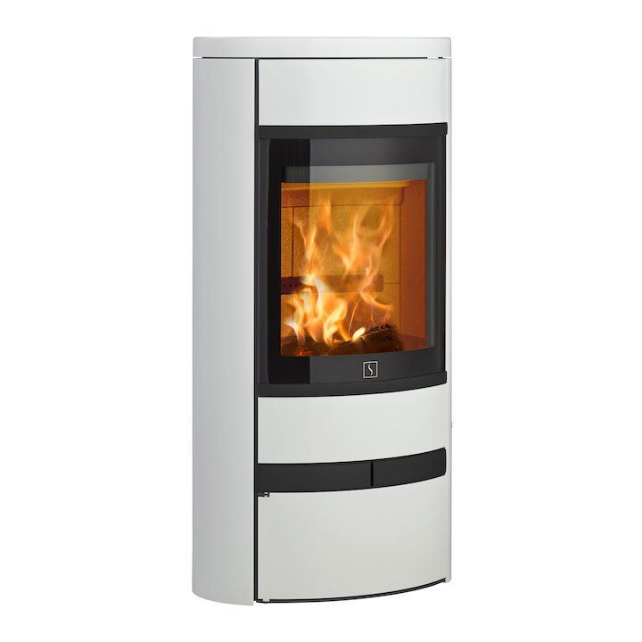 Scan 68 Low Base Wood Stove White Solid Sides Black Trim - White