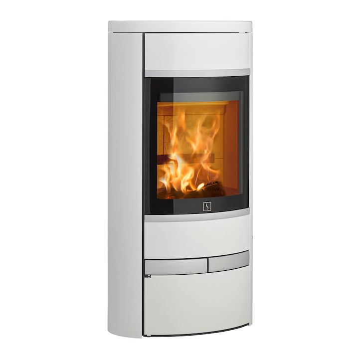 Scan 68 Low Base Wood Stove White Solid Sides Silver Trim - White