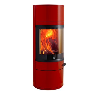 Scan 83 Wood Stove Red Black Trim