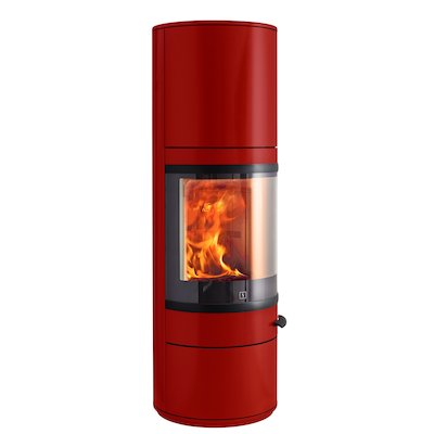 Scan 83 Maxi Wood Stove Red Black Trim