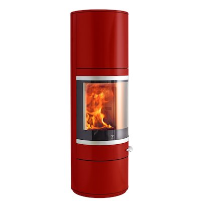 Scan 83 Maxi Wood Stove Red Silver Trim