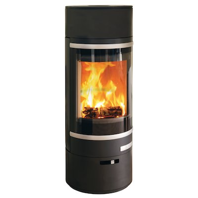Scan 85 LL Wood Stove Black Silver Trim