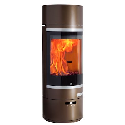 Scan 85 LL Wood Stove Brown Silver Trim