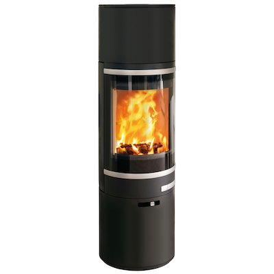 Scan 85 Maxi HH Wood Stove Black Silver Trim