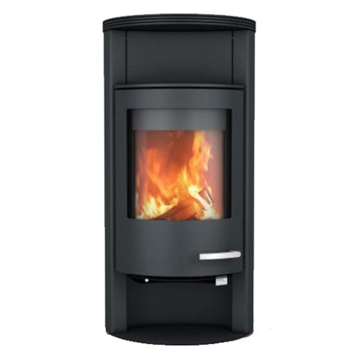 Skantherm Beo Wood Stove Black Round Top - Black