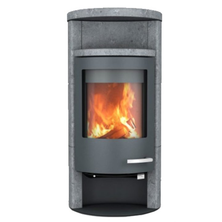 Skantherm Beo Wood Stove Soapstone Grey Trim Round Top - Soapstone