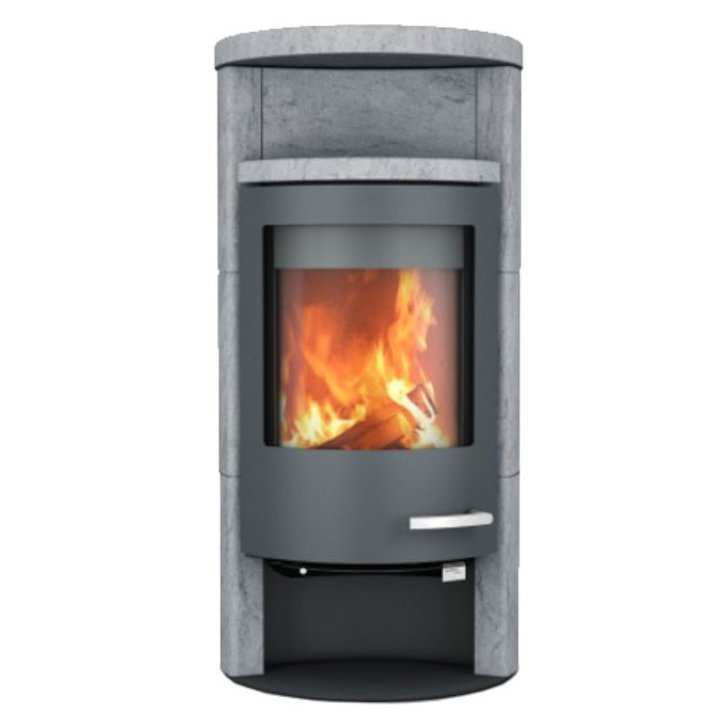 Skantherm Beo Wood Stove Serpentine Natural Stone Grey Trim Round Top - Serpentine Natural Stone