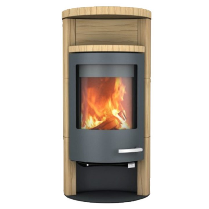 Skantherm Beo Wood Stove Yellow Sandstone Grey Trim Round Top - Yellow Sandstone