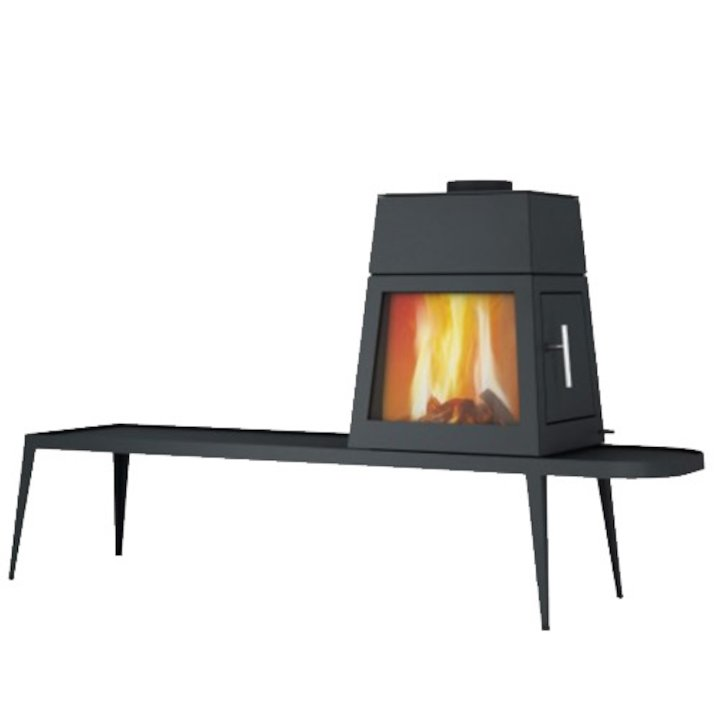 Skantherm Shaker Long Wood Stove Black Right Hinged Door - Black