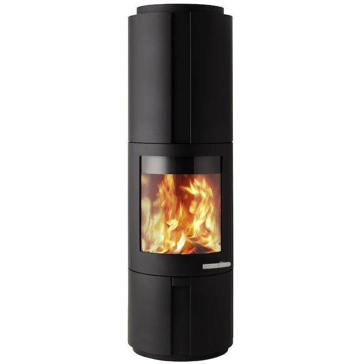 Skantherm Solo Wood Stove Black FX Curved Door Recessed