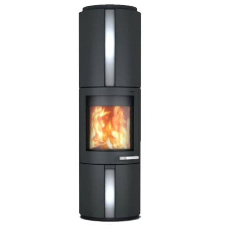 Skantherm Solo Wood Stove Black FX Curved Door Stainless Steel Inlay
