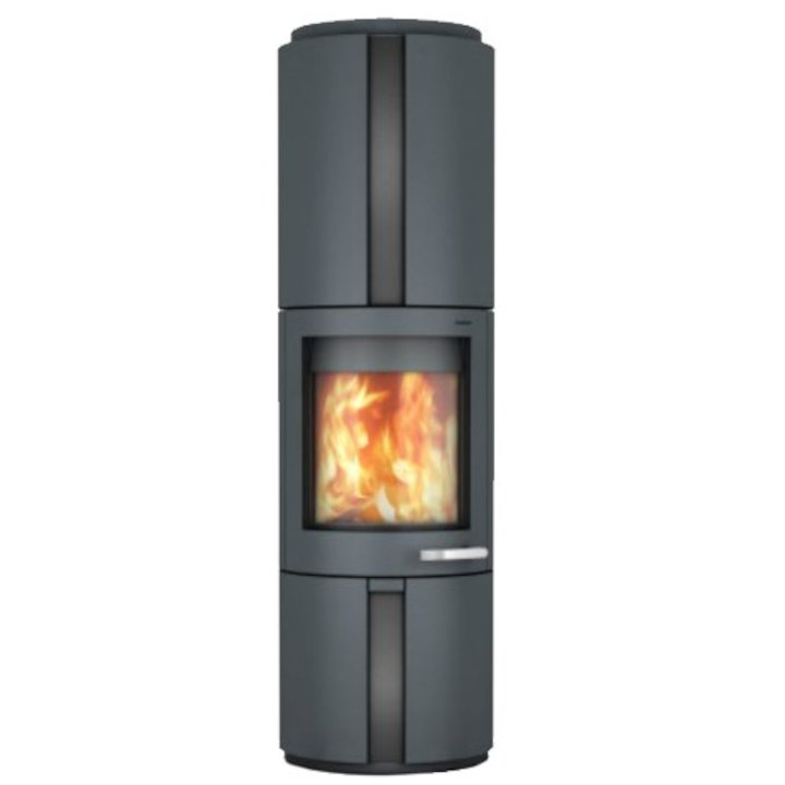 Skantherm Solo Wood Stove Grey FX Curved Door Black Glass Inlay