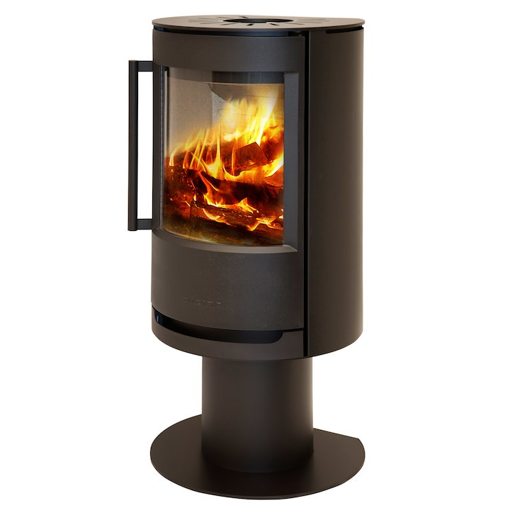 Wiking Luma Pedestal Wood Stove Black Solid Sides - Black