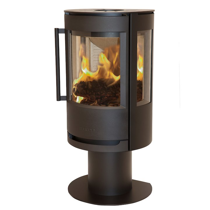 Wiking Luma Pedestal Wood Stove Black Side Glass Windows - Black