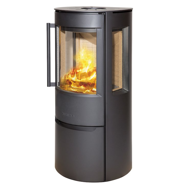Wiking Luma Logstore Wood Stove Black Side Glass Windows - Black