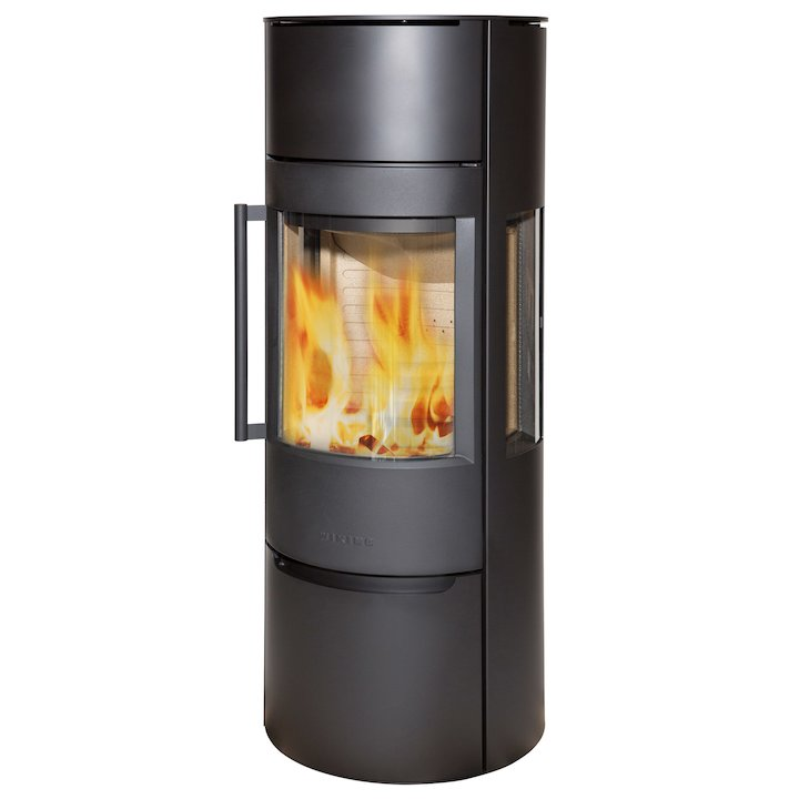 Wiking Luma Tall Wood Stove Black Side Glass Windows - Black