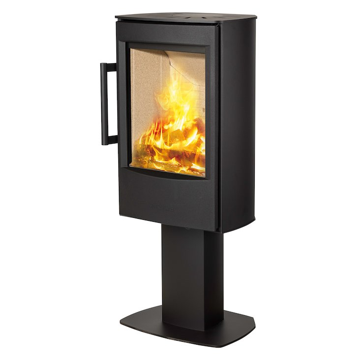 Wiking Miro Pedestal Wood Stove Black Solid Sides - Black