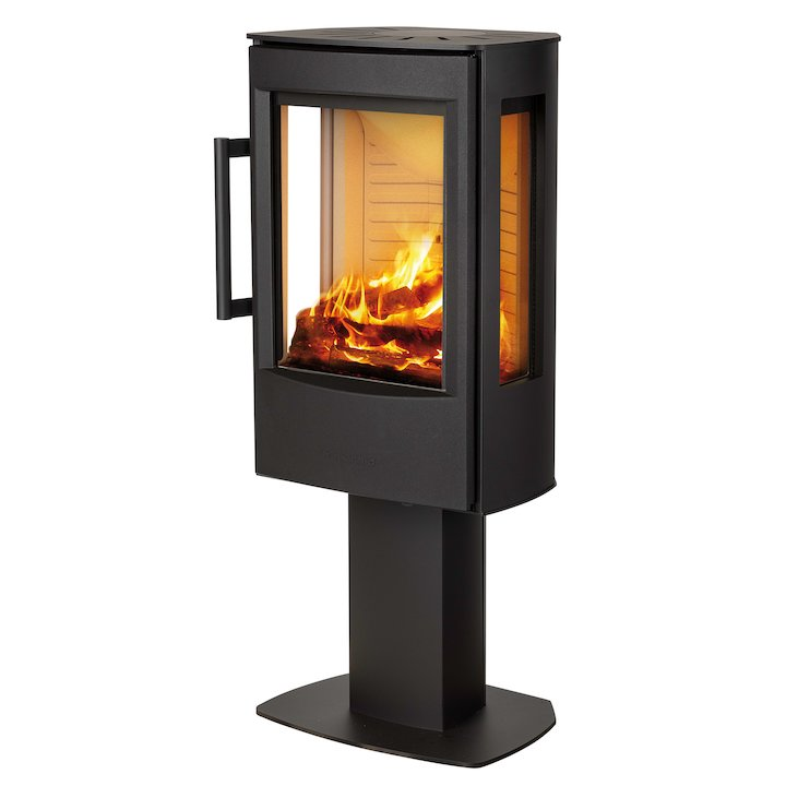 Wiking Miro Pedestal Wood Stove Black Side Glass Windows - Black