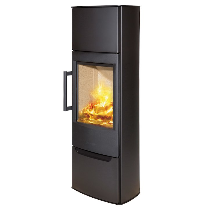 Wiking Miro Tall Wood Stove Black Solid Sides - Black