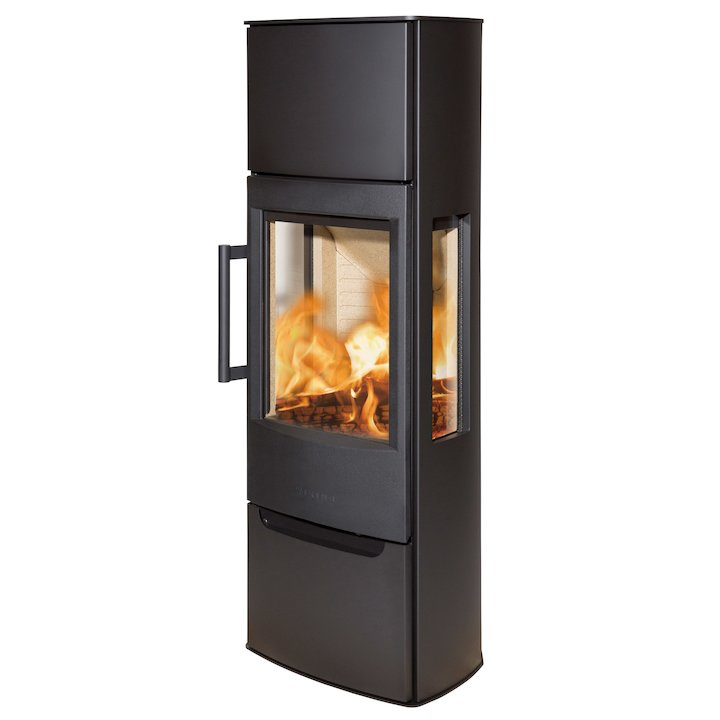 Wiking Miro Tall Wood Stove Black Side Glass Windows - Black