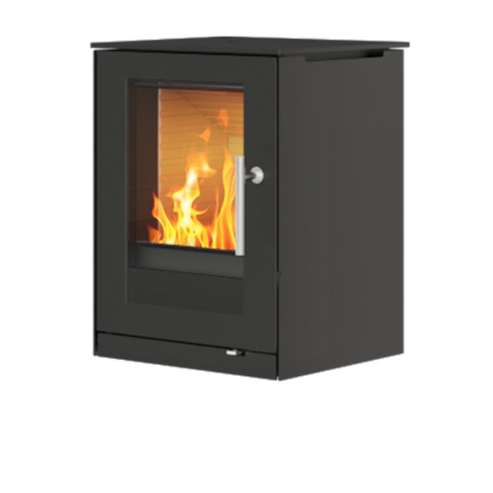 Rais Q-Tee Wall Mounted Wood Stove Black Metal Framed Door - Black