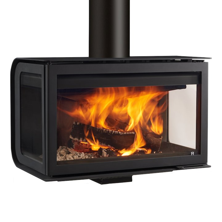 Rocal City Wall Mounted Wood Stove - Black