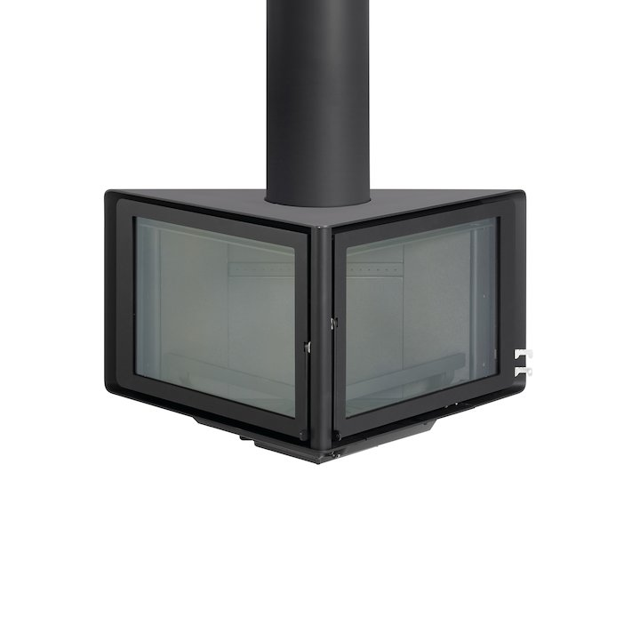 Rocal Vertex Wall Mounted Wood Stove - Black
