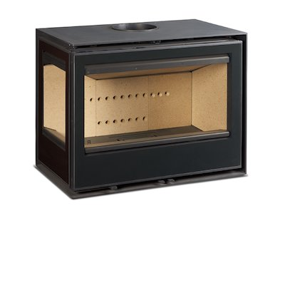 Rocal Habit 76 Wall Mounted Wood Stove Black Left Side Glass