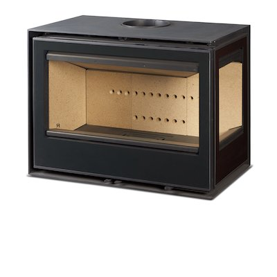 Rocal Habit 76 Wall Mounted Wood Stove Black Right Side Glass
