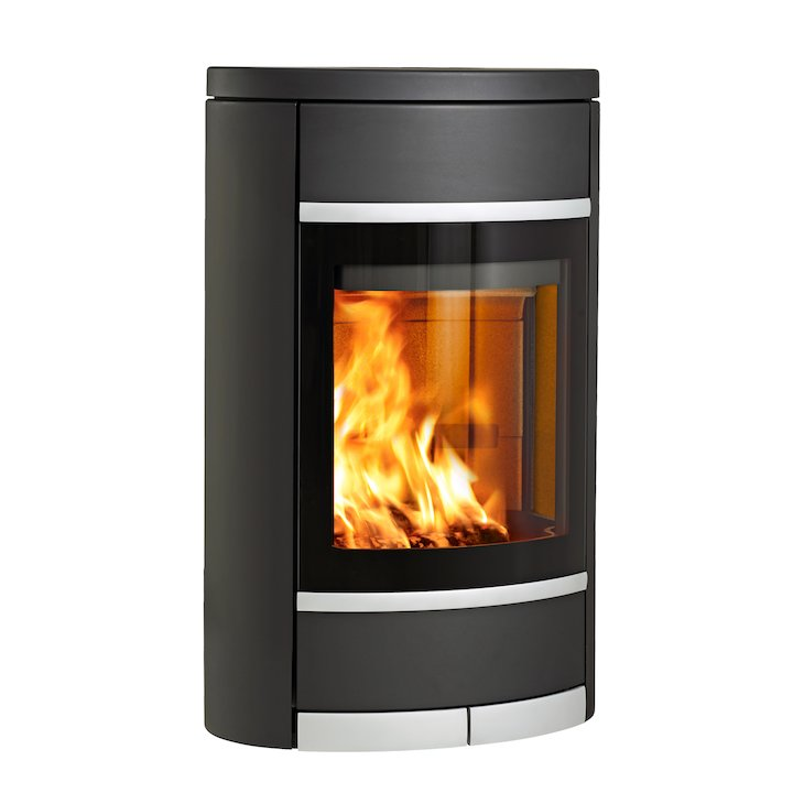Scan 68 Wall Mounted Wood Stove Black Solid Sides Silver Trim - Black