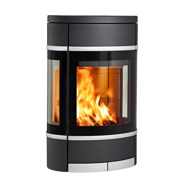 Scan 68 Wall Mounted Wood Stove Black Side Glass Windows Silver Trim - Black