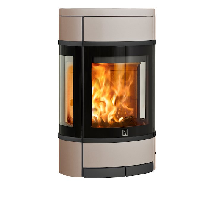 Scan 68 Wall Mounted Wood Stove Champagne Side Glass Windows Black Trim - Champagne