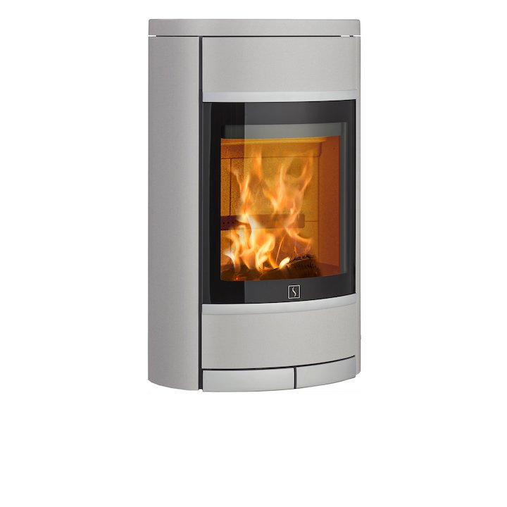 Scan 68 Wall Mounted Wood Stove Silver Solid Sides Silver Trim - Silver Filigree