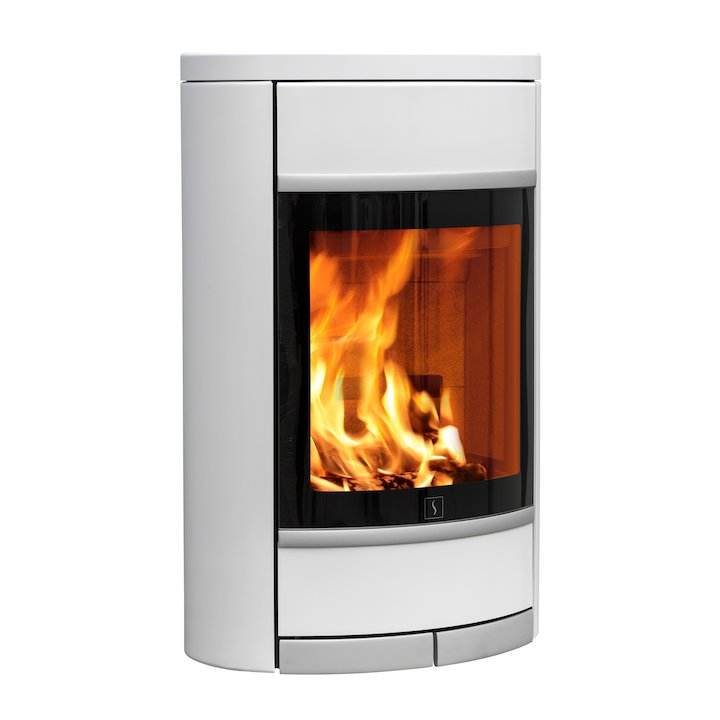 Scan 68 Wall Mounted Wood Stove White Solid Sides Silver Trim - White