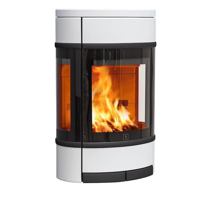 Scan 68 Wall Mounted Wood Stove White Side Glass Windows Black Trim - White