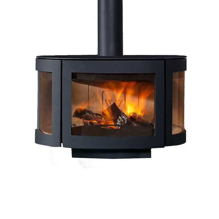 Wanders Black Pearl Wall Mounted Wood Stove - Black