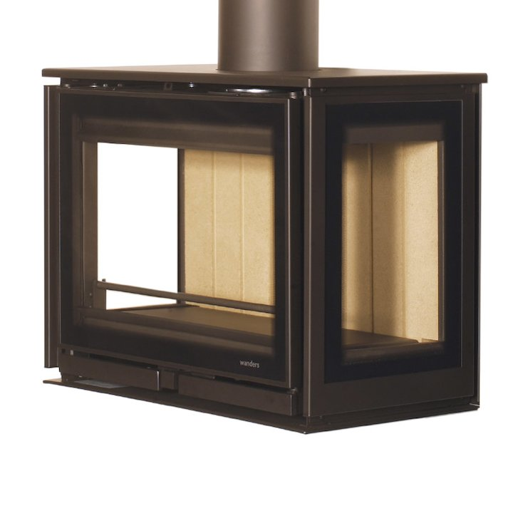 Wanders Square 60 Trilateral Wall Mounted Wall Stove - Black