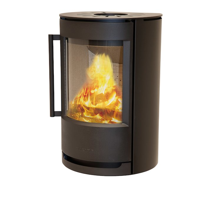 Wiking Luma Wall Mounted Wood Stove Black Solid Sides - Black