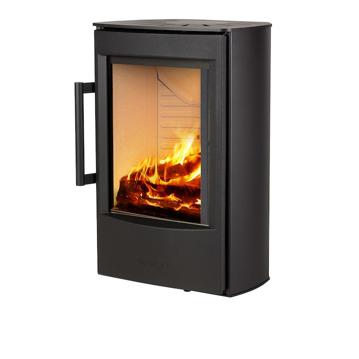 Wiking Miro Wall Mounted Wood Stove Black Solid Sides - Black