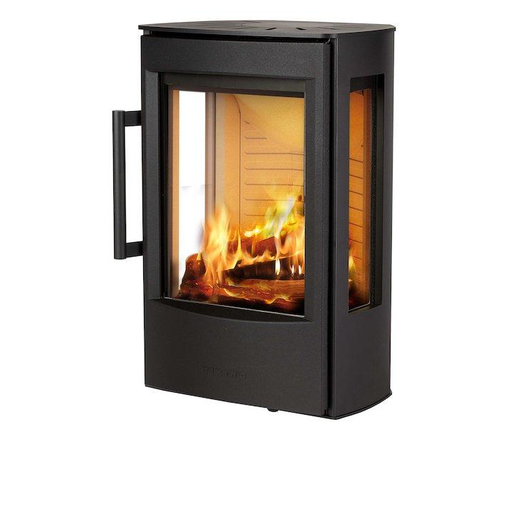 Wiking Miro Wall Mounted Wood Stove Black Side Glass Windows - Black