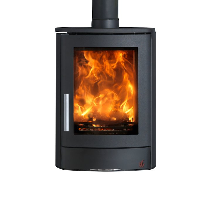 ACR Neo Wall Mounted Multifuel Stove Black Solid Sides - Black