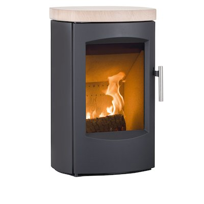 Heta Scanline 7C Wall Mounted Multifuel Stove Black Sandstone Top Plate
