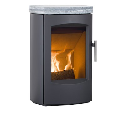 Heta Scanline 7C Wall Mounted Multifuel Stove Black Soapstone Top Plate