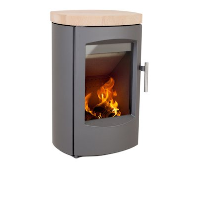 Heta Scanline 7C Wall Mounted Multifuel Stove Grey Sandstone Top Plate