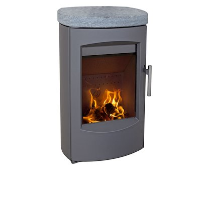 Heta Scanline 7C Wall Mounted Multifuel Stove Grey Soapstone Top Plate