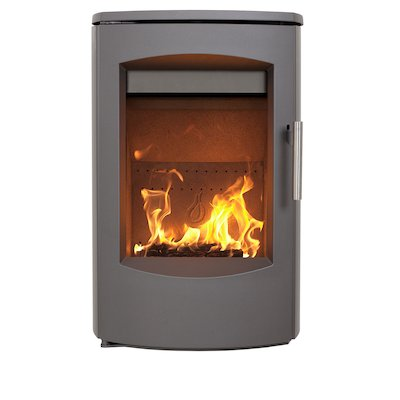Heta Scanline 7C Wall Mounted Multifuel Stove Grey Steel Top Plate