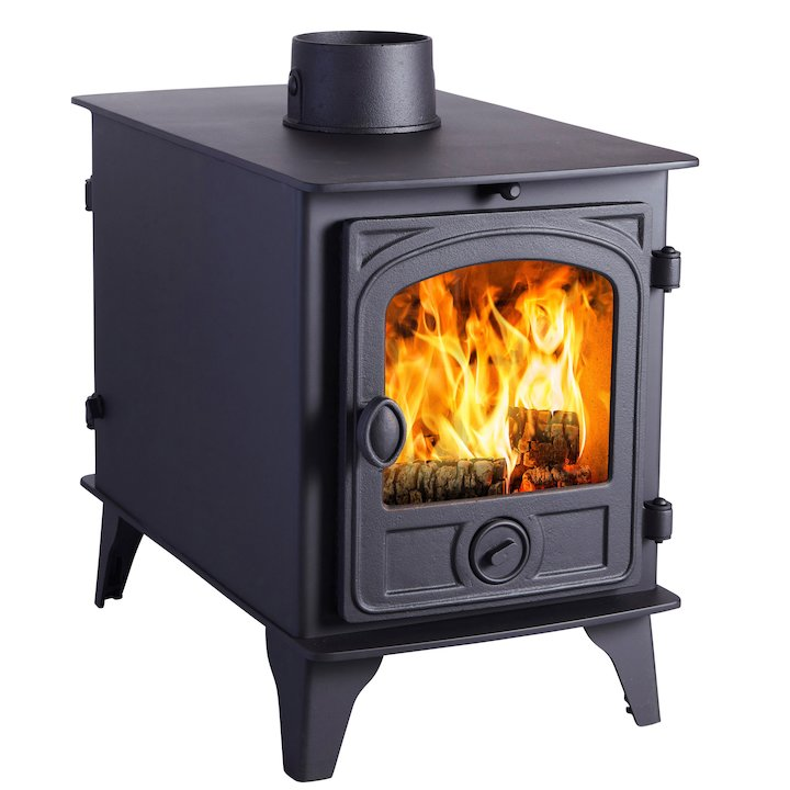 Hunter Hawk 4 Double Sided Wood Stove - Double Depth Black Contemporary Door - Black